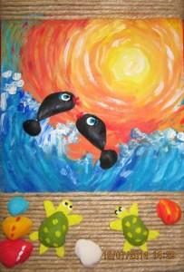 tablou cu scoici si pictura