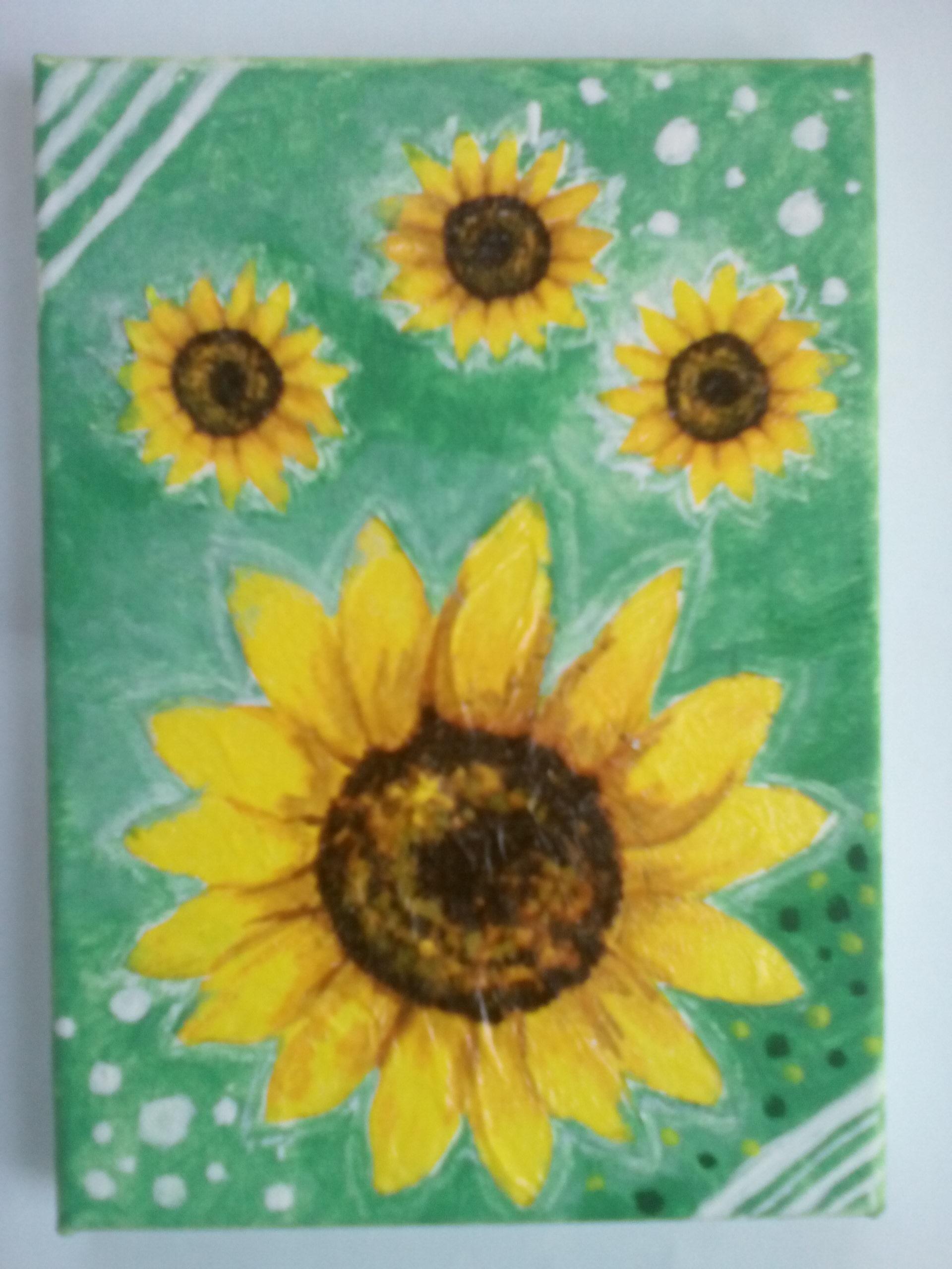 Tablou cu floarea soarelui – tehnica mixta