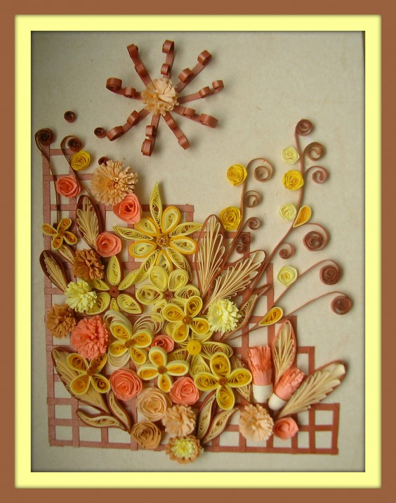 Tablou quilling yellow-and-pink-flowers