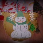 Ornament de brad – colaj cu om de zapada