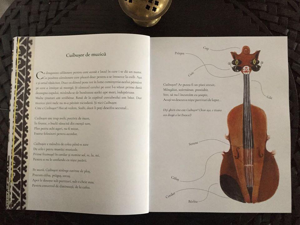 vioara lui Enescu desenata in cel mai atractiv mod posibil